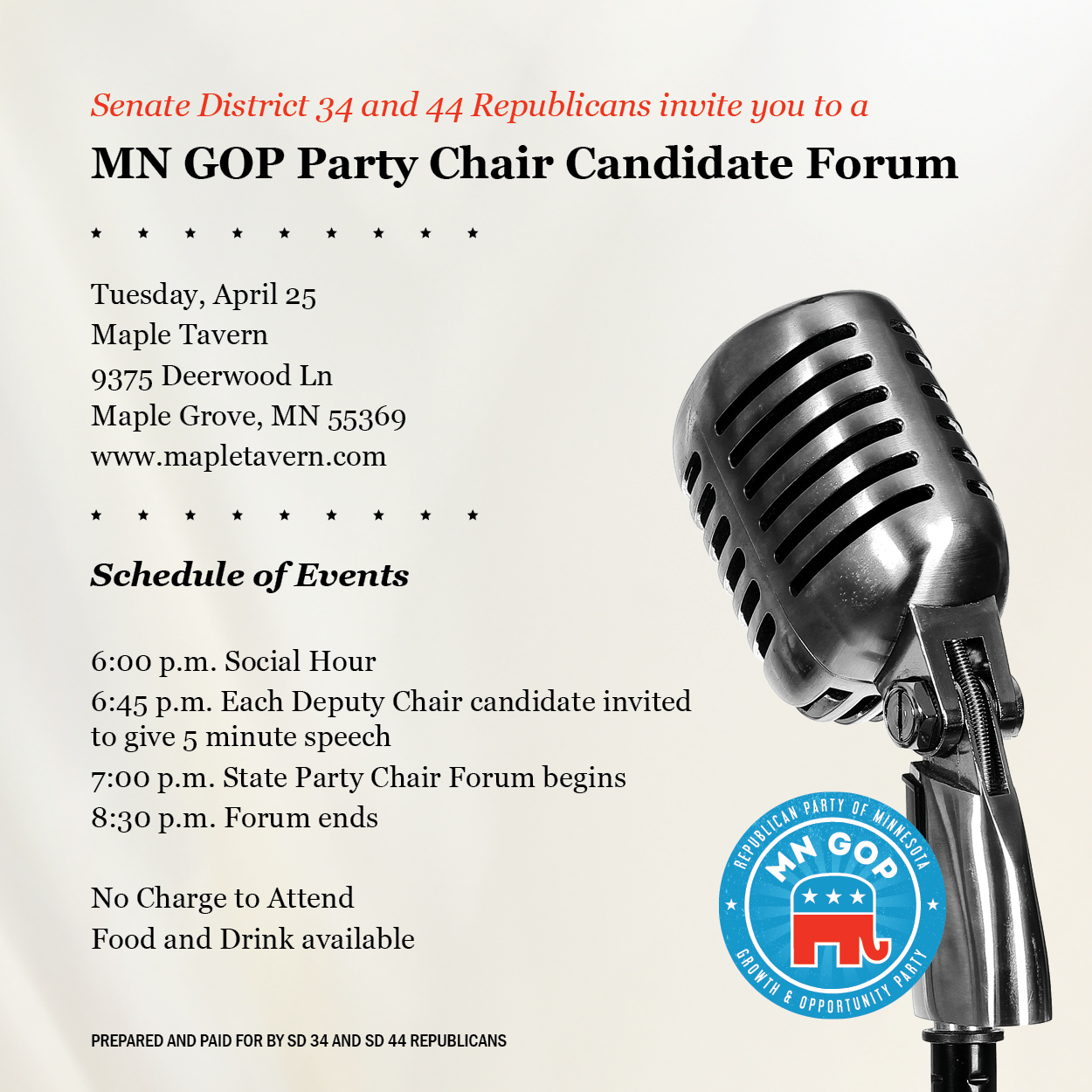 MN GOP Party Chair Candidate Forum @ Maple Tavern   Maple Grove   Minnesota   United States